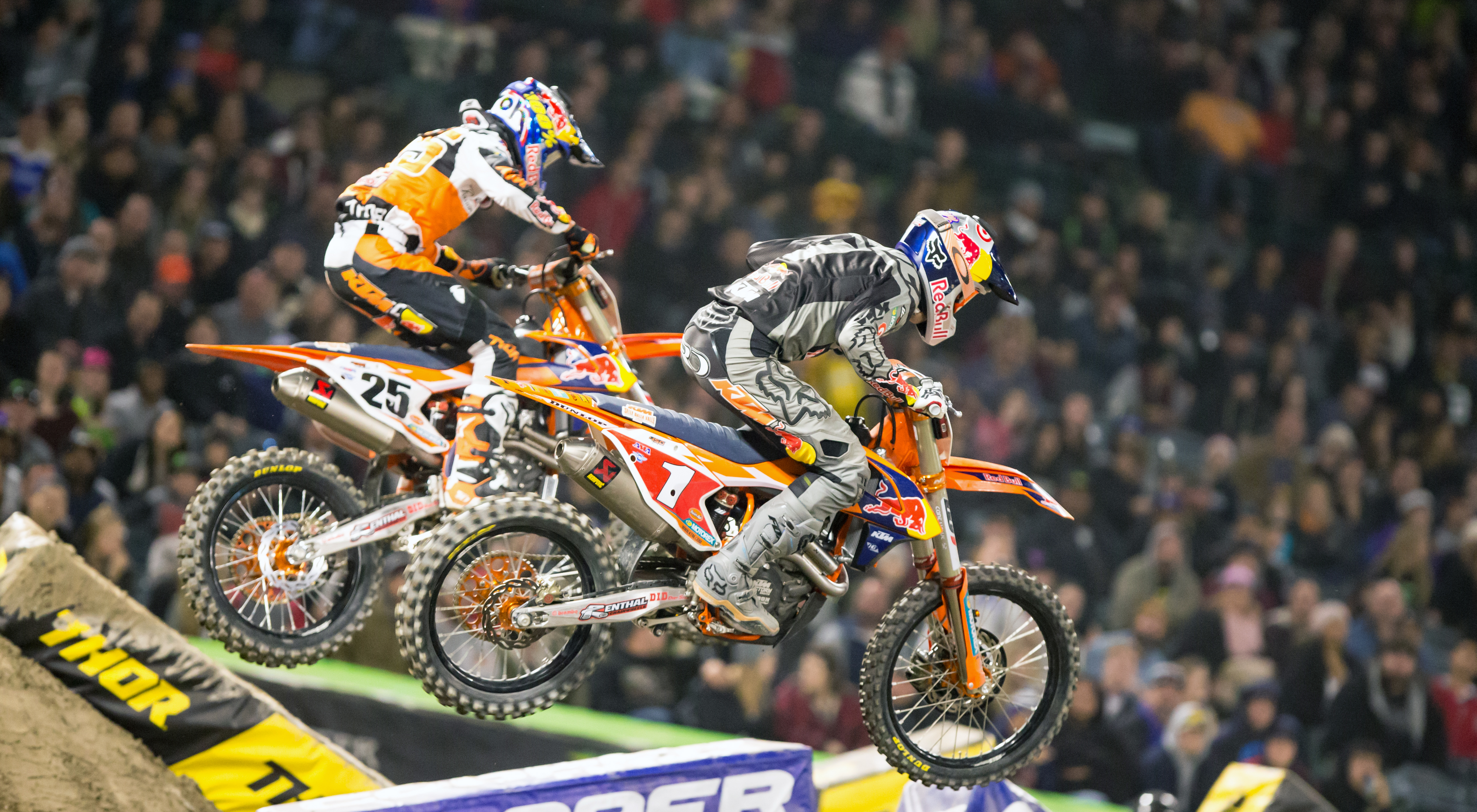 Dungey battles teammate Marvin Musquin en route to a second place finish in the season opener in Anaheim.