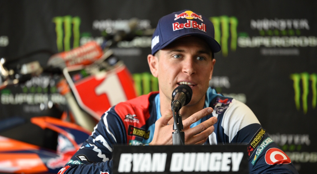 2017 Monster Energy Supercross champion Ryan Dungey at the post-race press conference.
